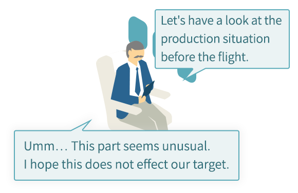Let's have a look at the production situation before the flight. Umm… This part seems unusual. I hope this does not effect our target.