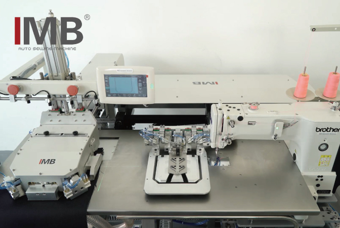 Fully automatic back pocket attaching system: MB1002F-BR-1-BAS311HN-05XT